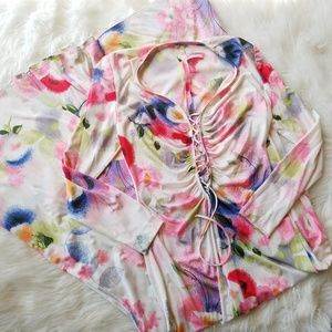 Vintage 60's Lace Front Floral Lingerie Maxi Dress